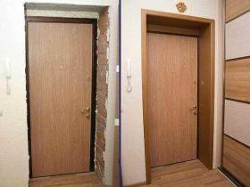 Как и чем проводится отделка дверных откосов после установки входной двери