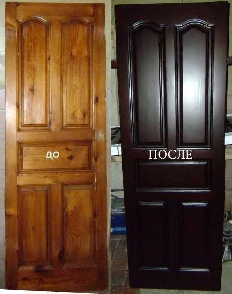 Вид двери до и после реставрации