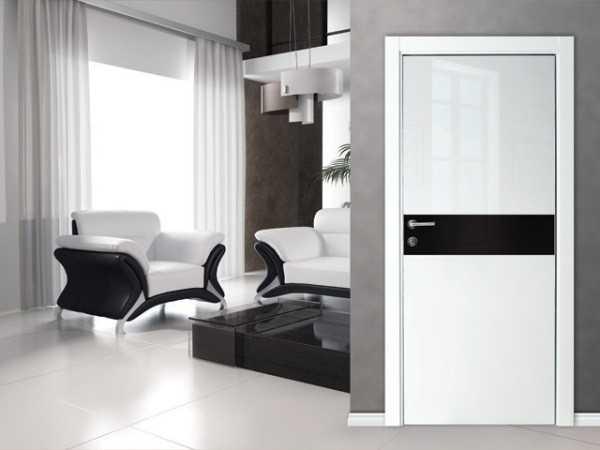 Белые двери модерн с черными вставками