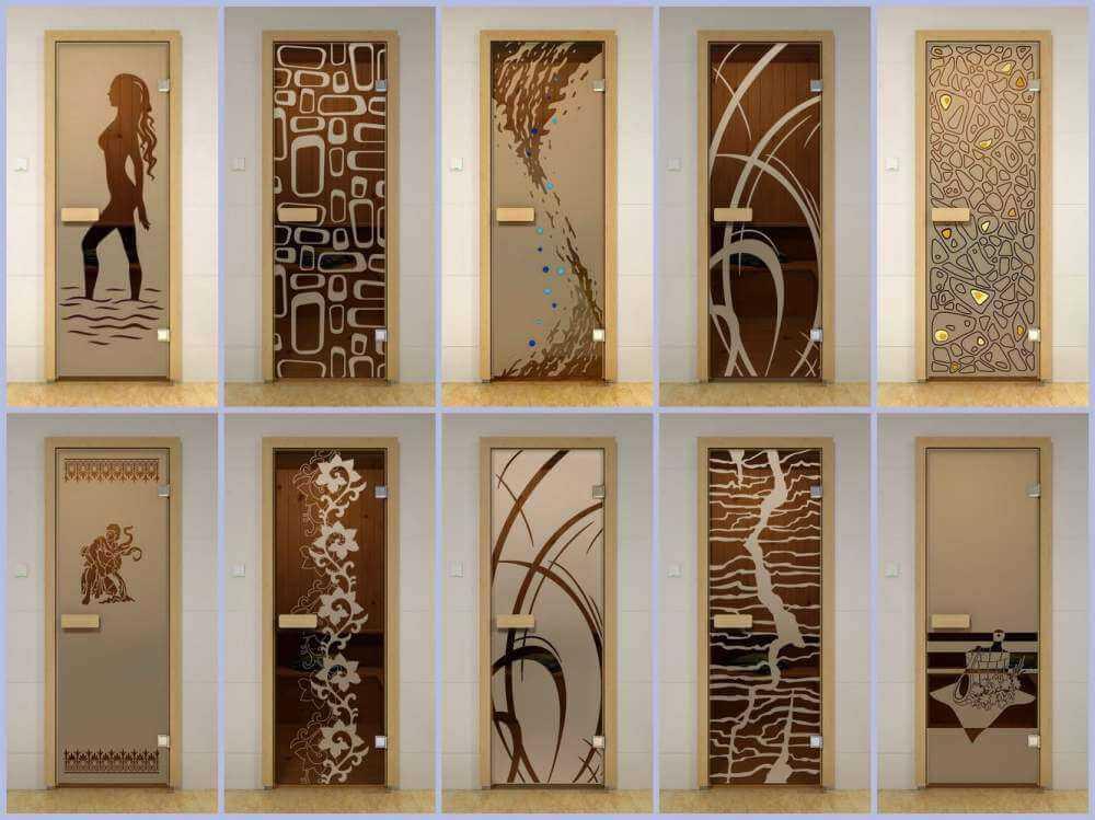 Рисунки на дверном стекле